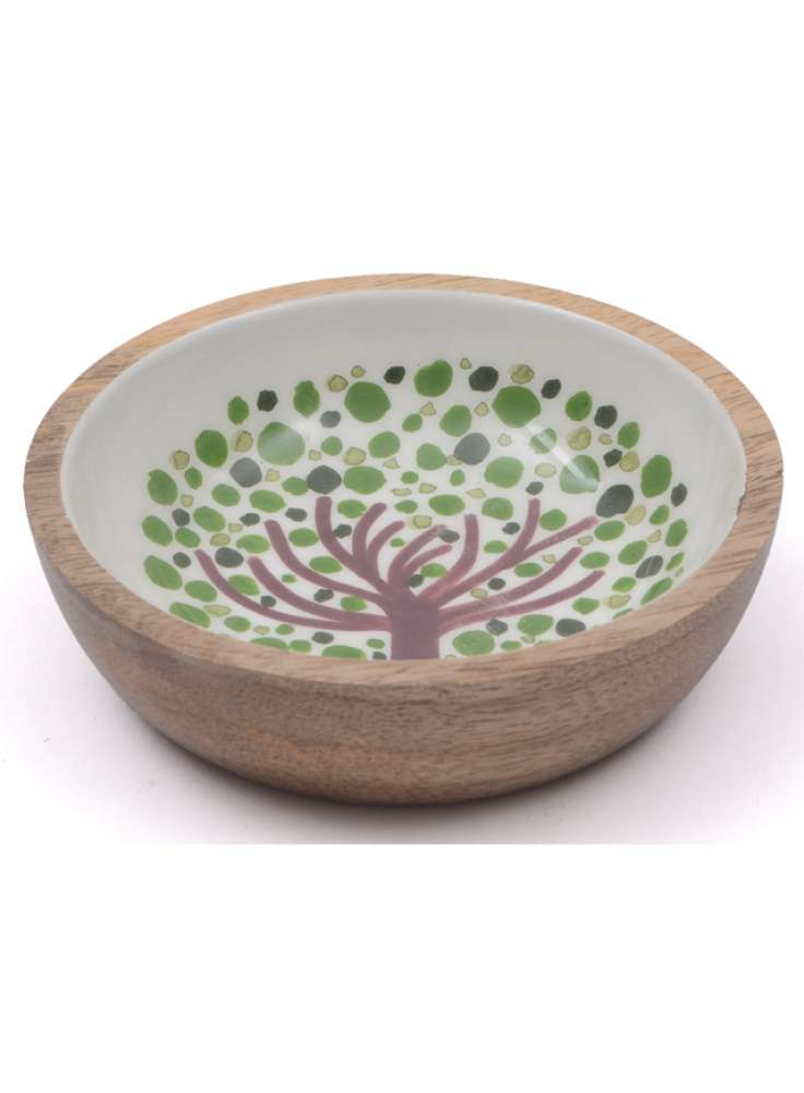 Printed enamel mango wood bowl