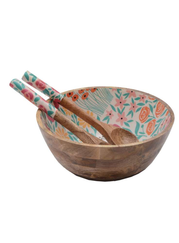 Enamel Print Wooden Bowl With Serving Spoons