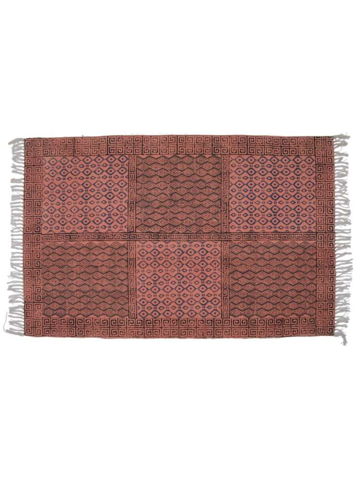 Handcrafted cotton printed red area rug dhurries