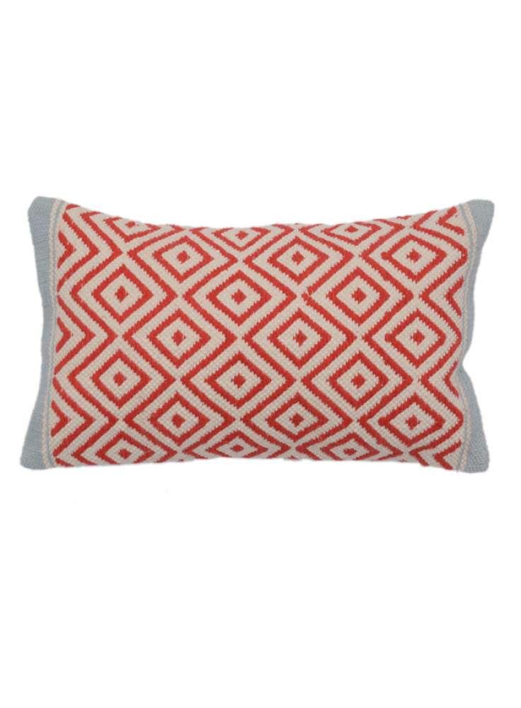 Embroidered White Orange Diamond Pattern Pillow Cover