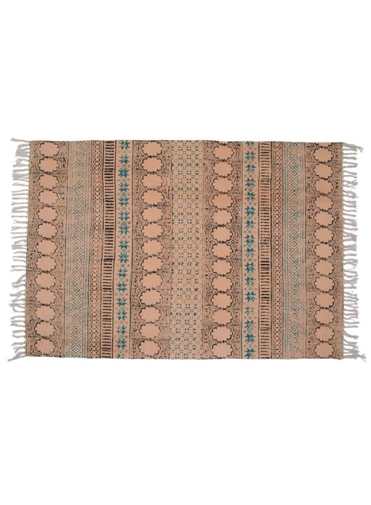 Cotton printed handmade accent rug dhurrie