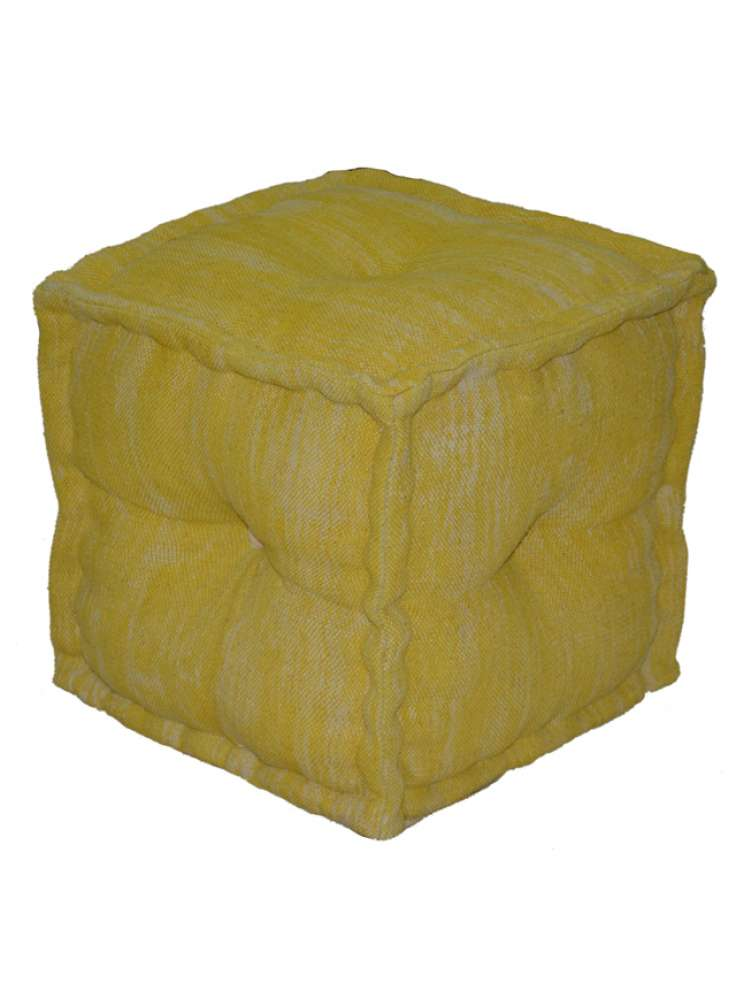 Modern Yellow Indoor Cube Pouf