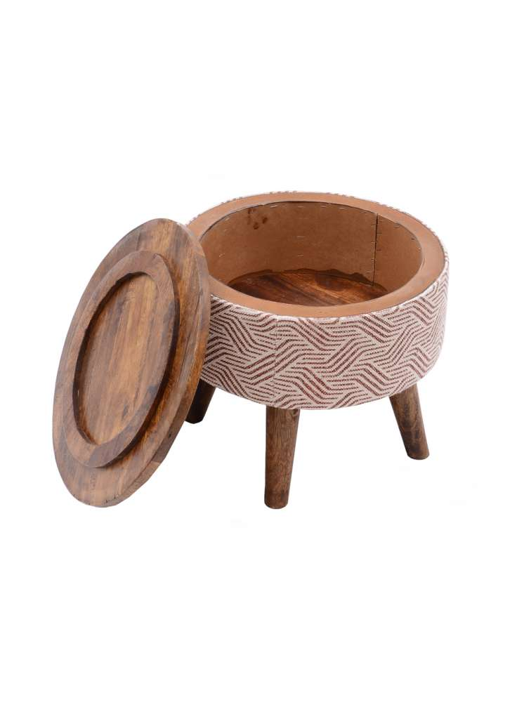 Round storage ottoman stool