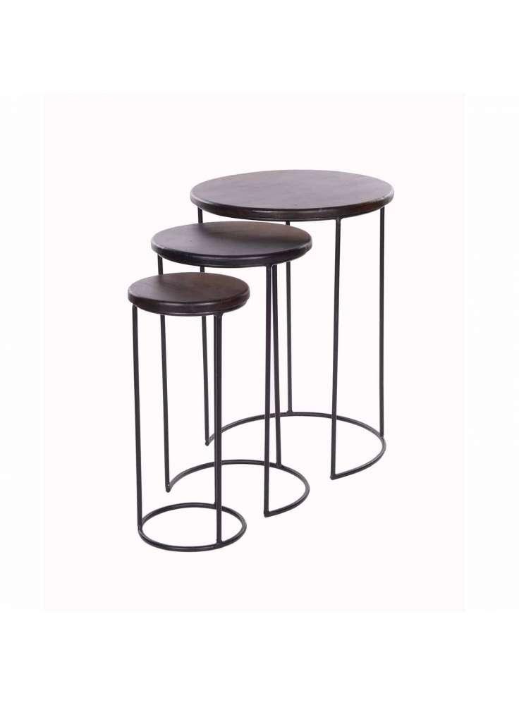 Iron Round Bar Stool Set of Three