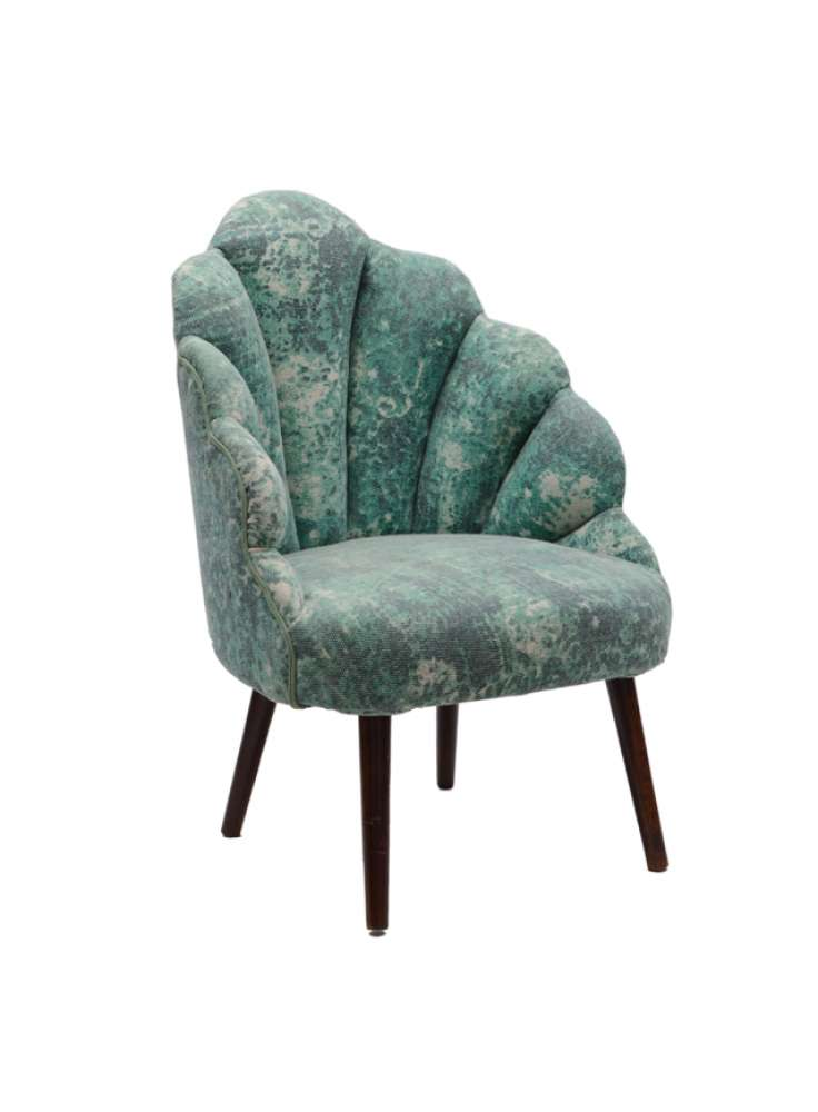Cotton Printed Rug Upholstered Wooden Peacock Chair