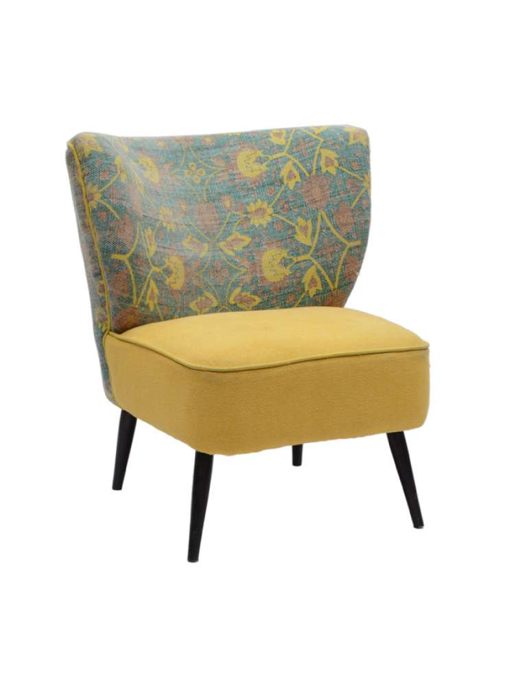 Cotton Printed Rug Upholstered Wooden Chair