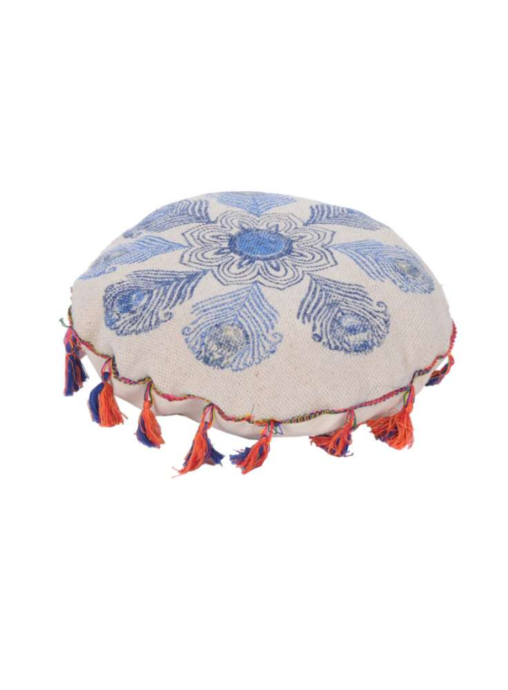 Feather Print Cotton Pouf With Tassel