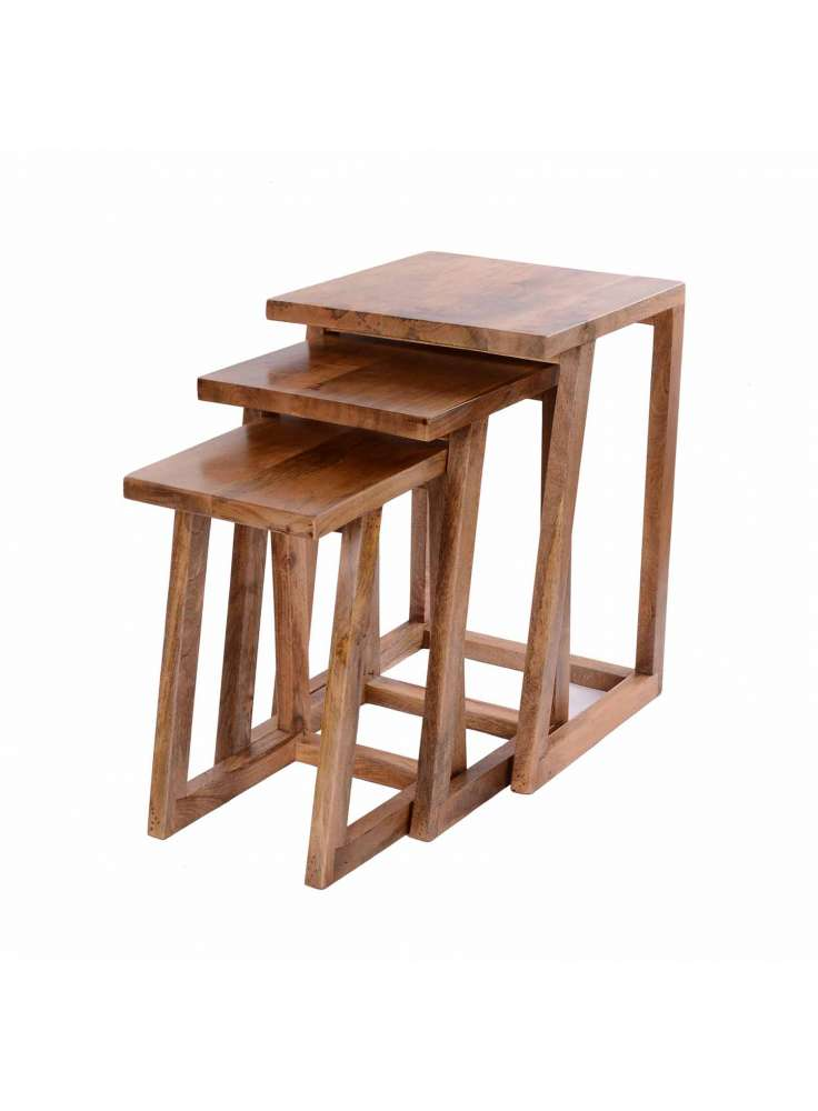 Set of 3 Wooden Stool Table