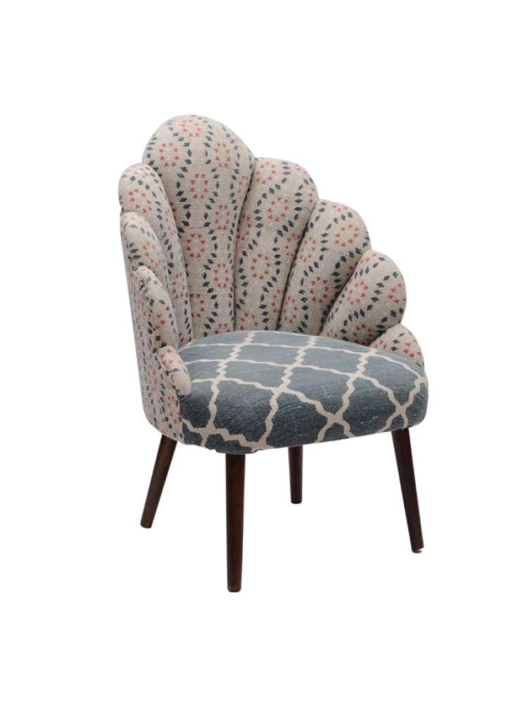 Cotton Printed Rug Upholstered Wooden Peacock Accent Chair