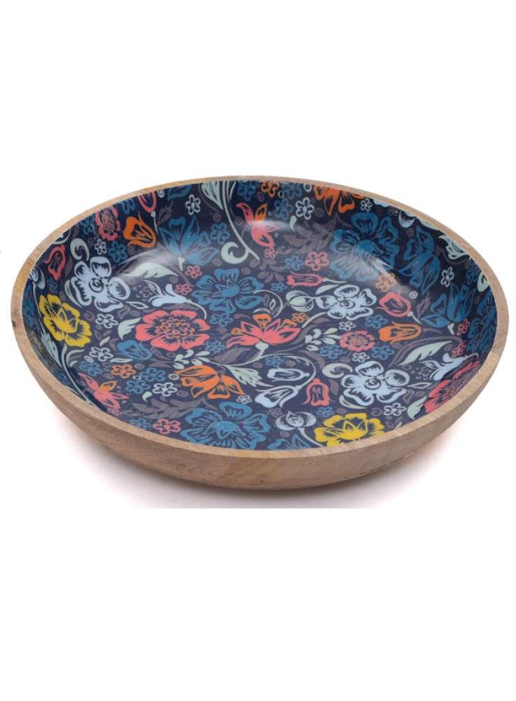 Floral Print Mango Wood Bowl