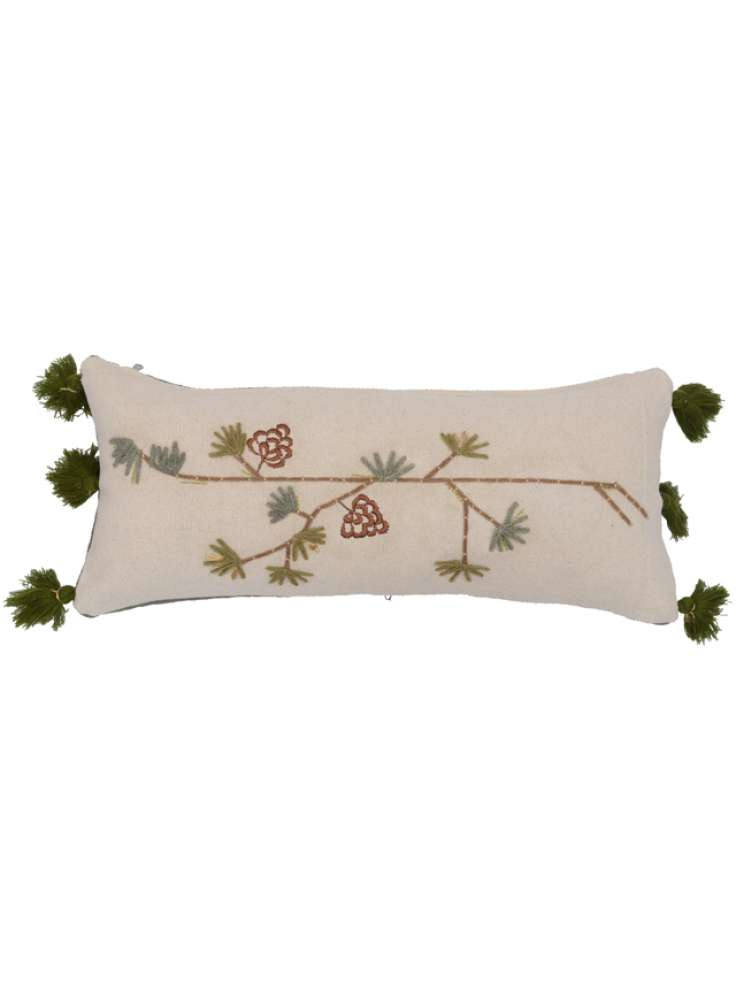 Tassel embellished printed embroidered cushion cover