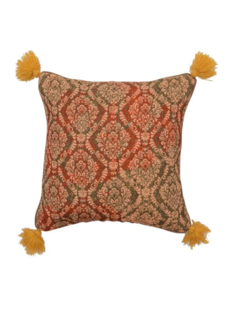 Cotton Printed Handmade Cushion Cover With Corner Tassel