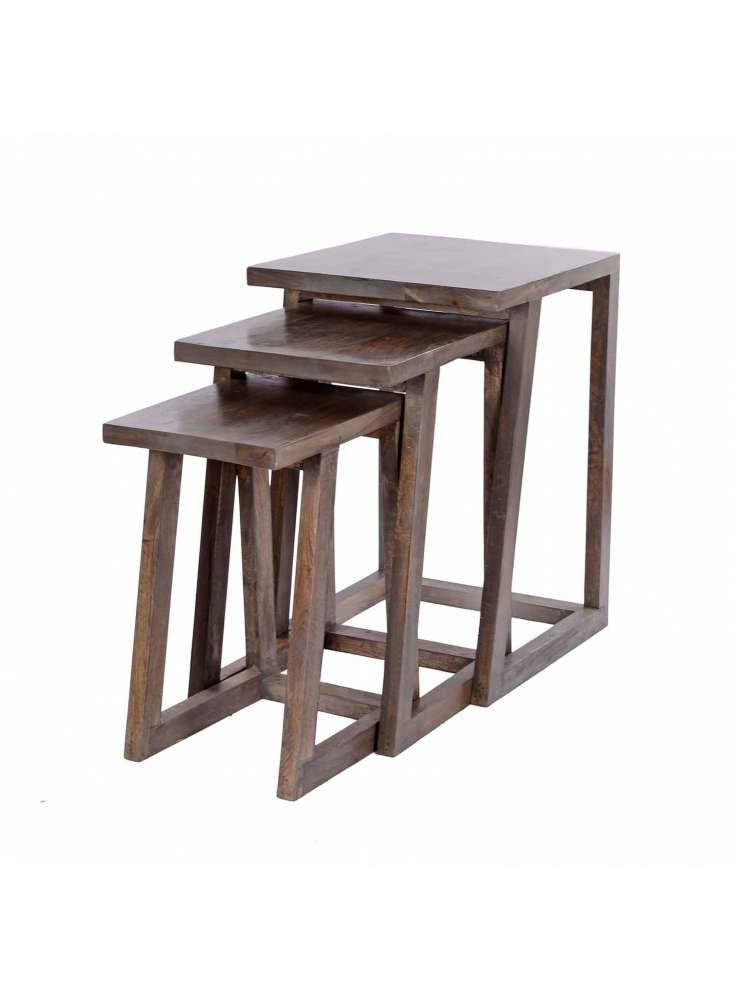 Wooden Stool Table Set of 3