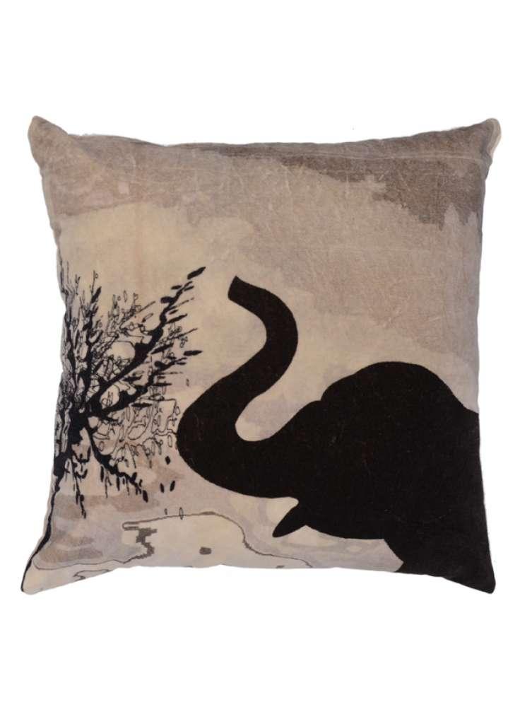 Elephant Print Velvet Cushion Cover