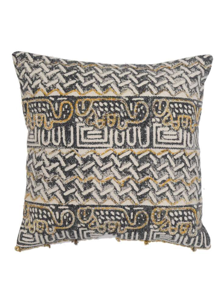 Embroidery Accent Handcrafted Cotton Cushion Cover