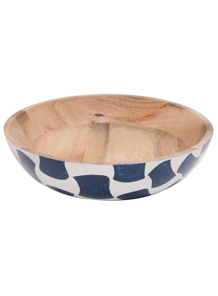 Printed exterior mango wood bowl