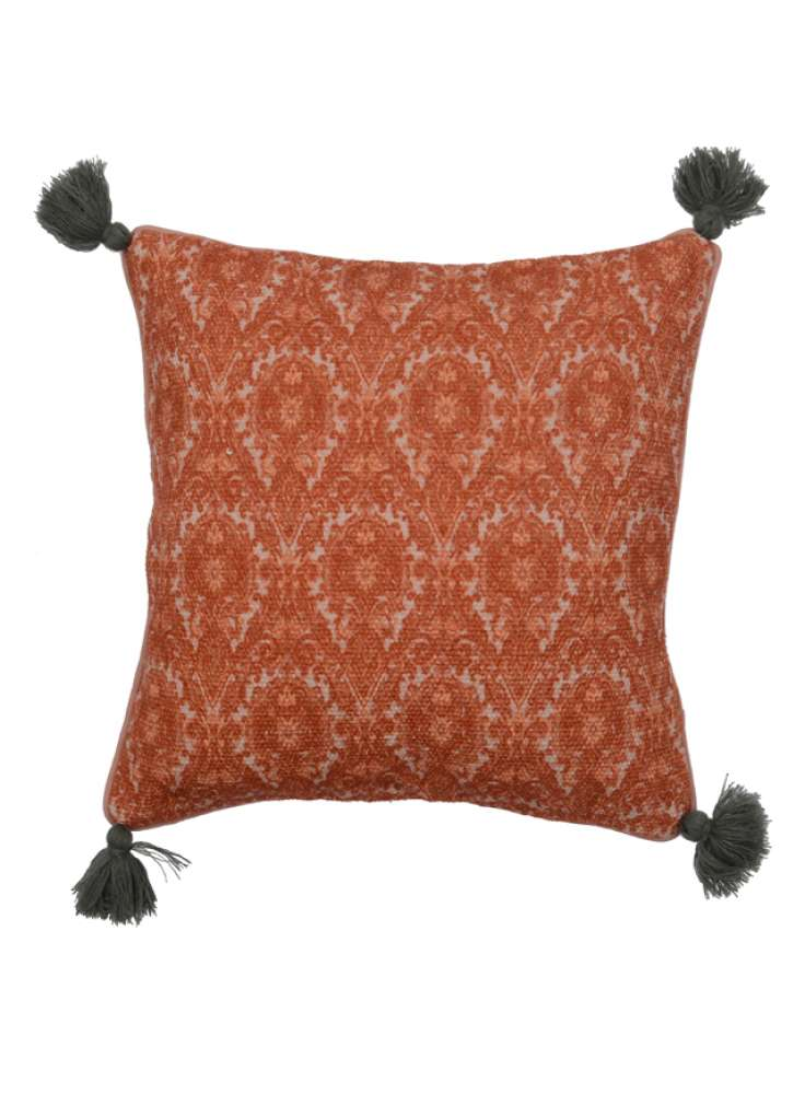 Printed Cotton Red Cushion Cover With Black Tassels