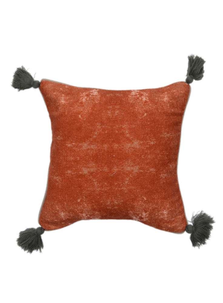 Cotton Plain Handmade Cushion Cover With Tassels
